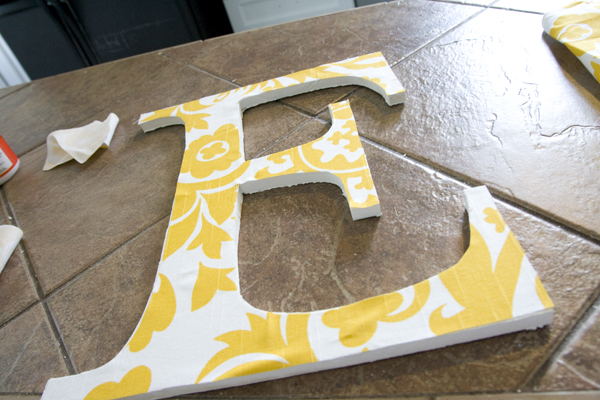 Handmade wooden letters a simpler edition the for Fabric covered letters