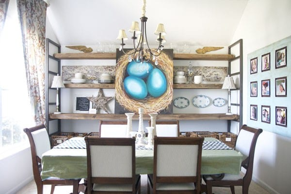 reclaimed barn wood + custom shelving : a dining room touch up