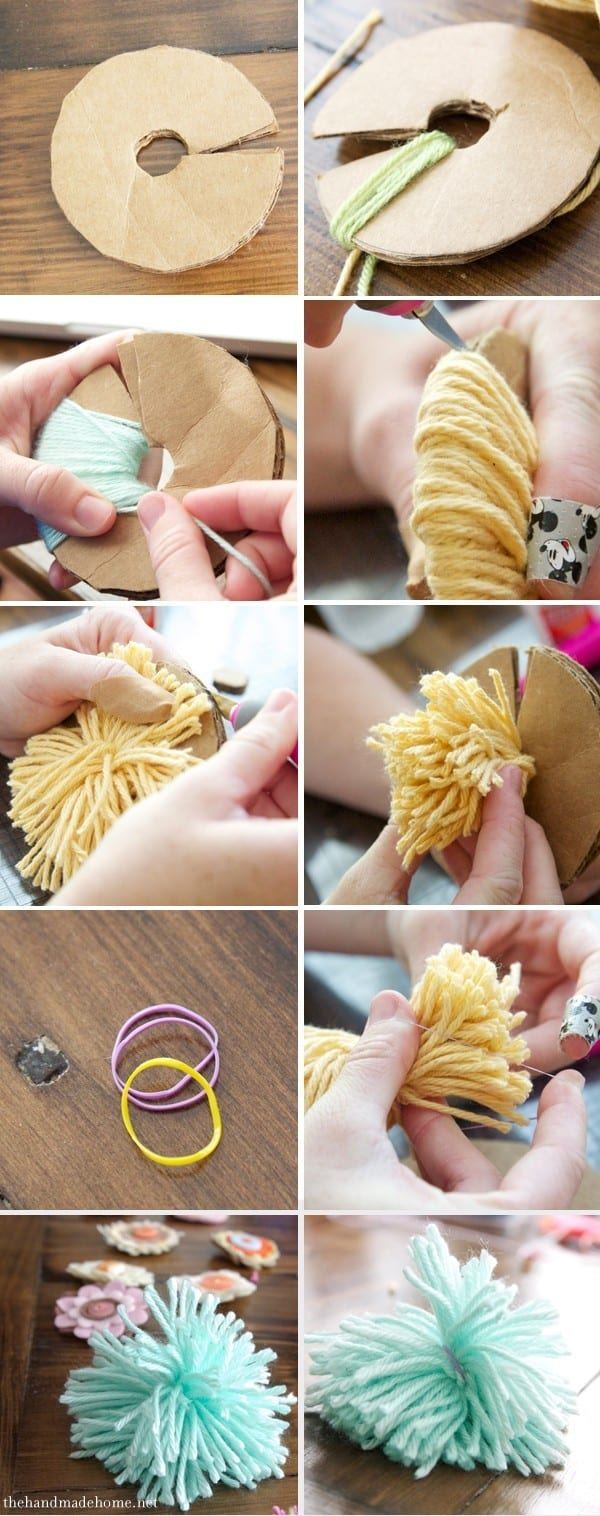 how to make pom poms with a fork youtube