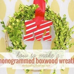 diy monogrammed boxwood wreath (scotch tape project)