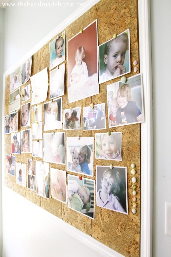 Decorating with photos a custom cork board for Kitchen cork board ideas