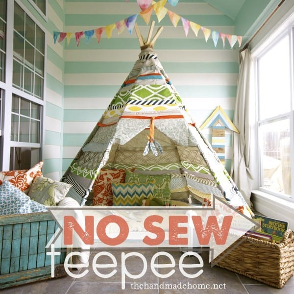 no sew teepee -easy and inexpensive indoor play place or reading nook