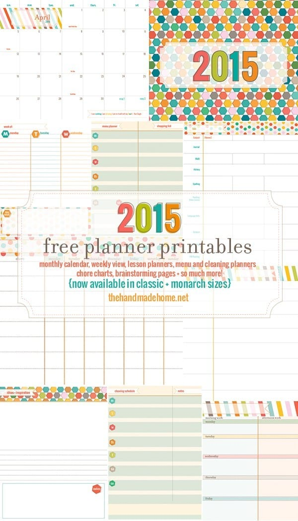 Free Planner And Calendar More 2015 The Handmade Home