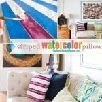 striped watercolor pillow