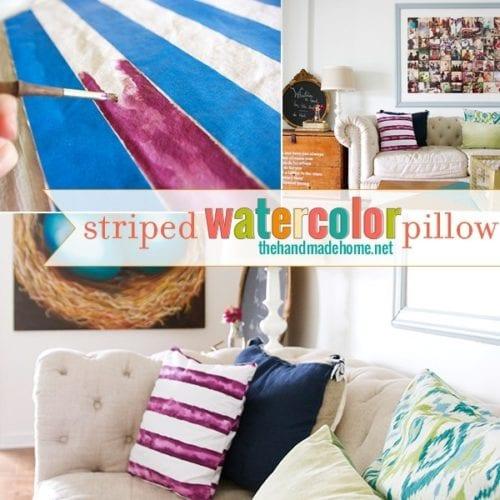 striped watercolor pillow