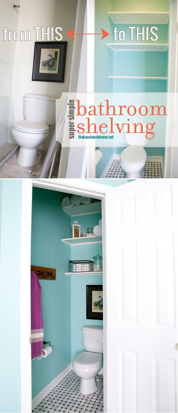 simple bathroom shelving - The Handmade Home