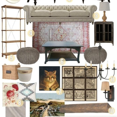 living room design with early american inspiration