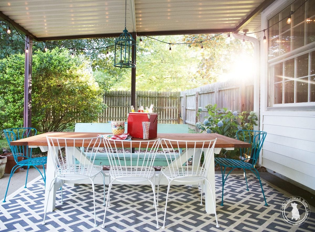 tips for creating an outdoor space - handmade table