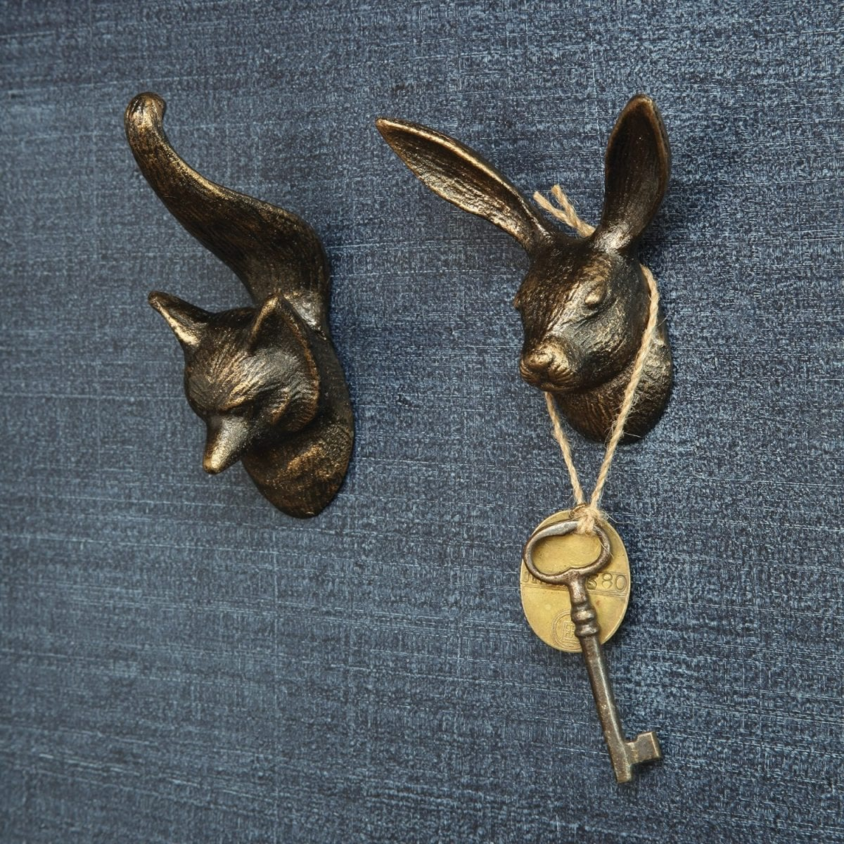 fox and rabbit cast iron hooks