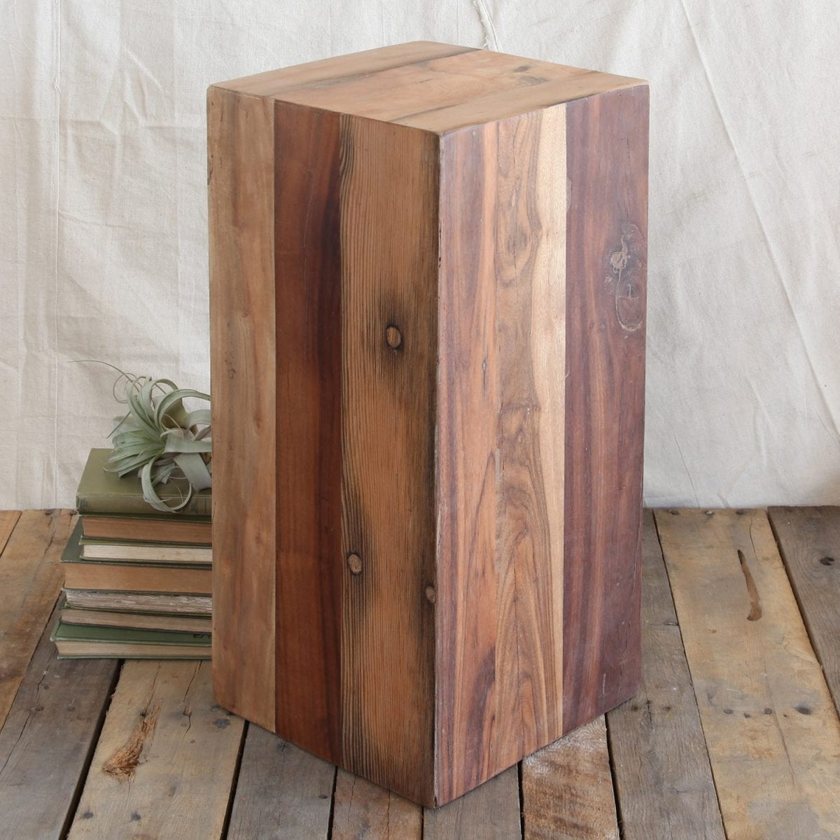 Block Wood Side Table ~ Reclaimed wood block collection the handmade home