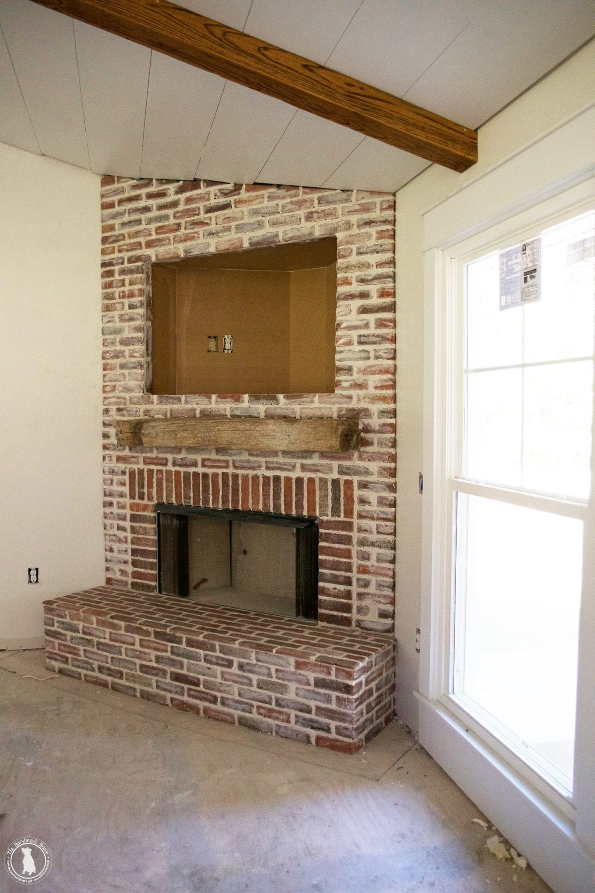 How To Mortar Rub Brick On A Fireplace The Handmade Home