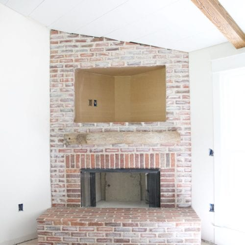 how to mortar rub brick {on a fireplace}