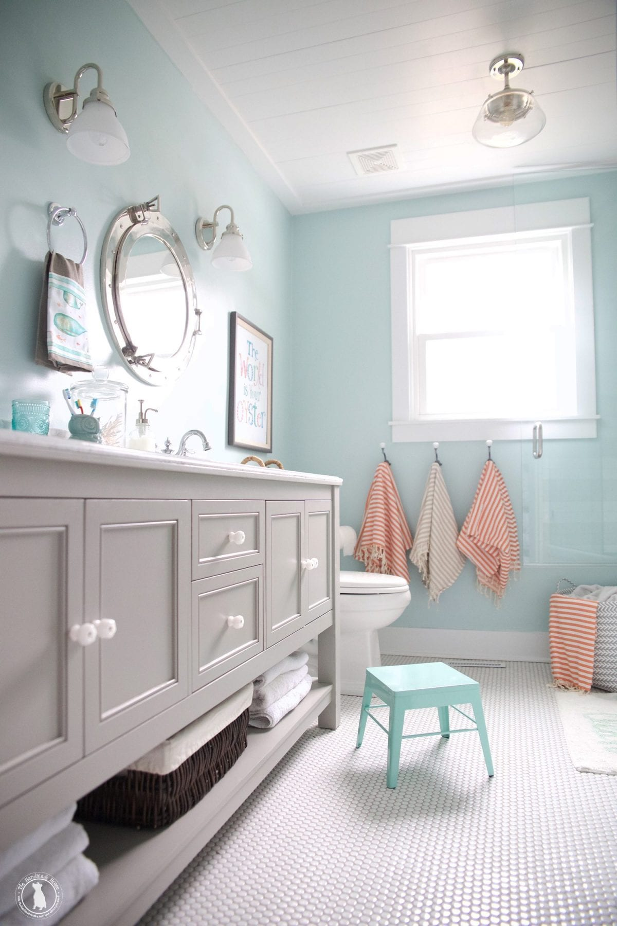 how to shiplap your ceilings - bathroom