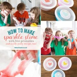 valentines sparkle slime {and a free printable}