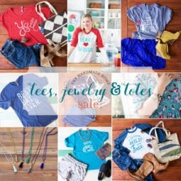 the handmade home tees, jewelry and totes sale!