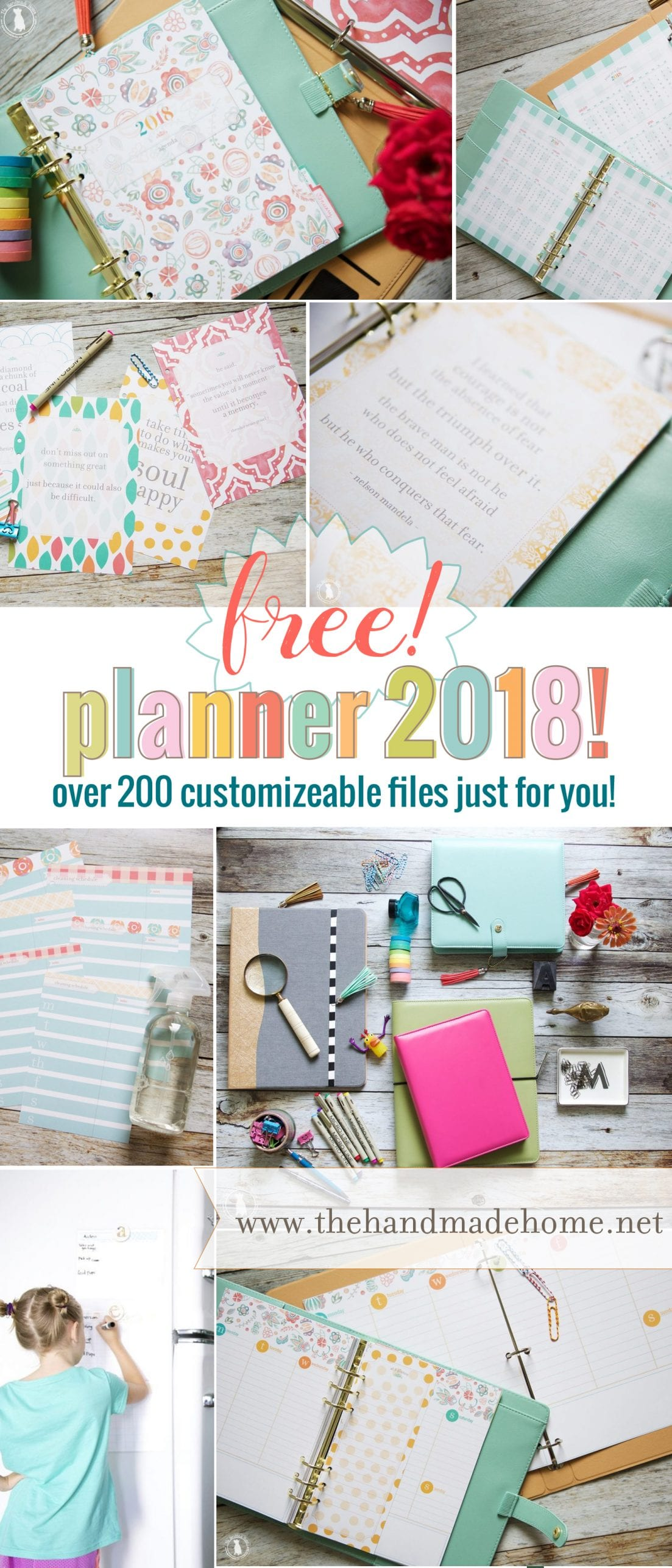 Calendar Home Planner : Free planner over customizable files the handmade home
