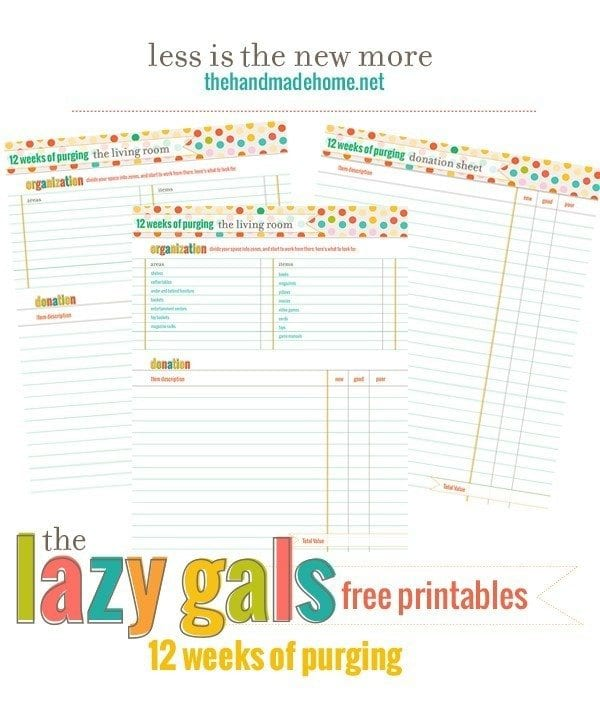 organization around the house - free printables