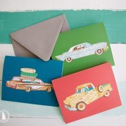 vintage car stationery freebies