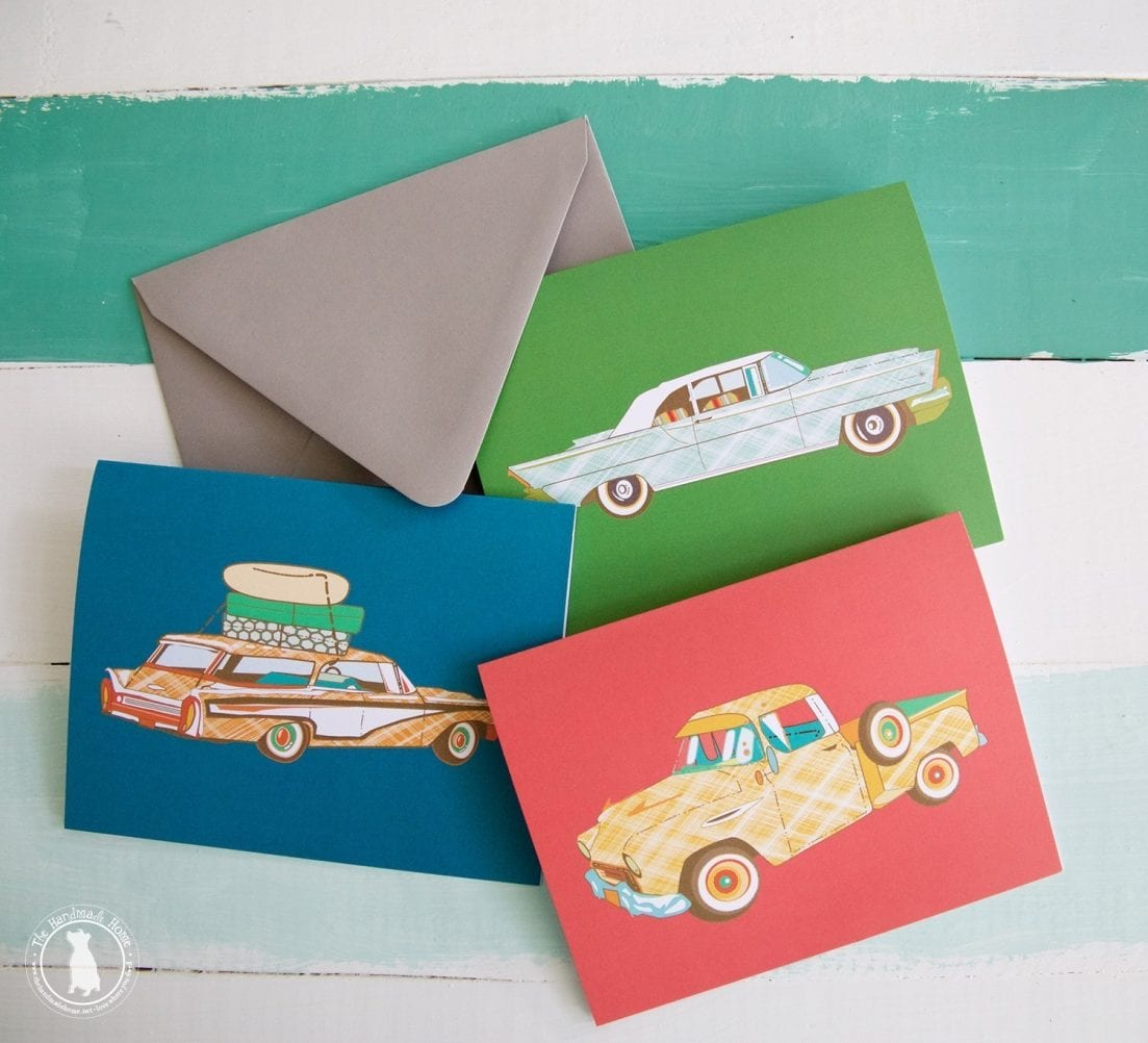 vintage car stationery freebies - The Handmade Home