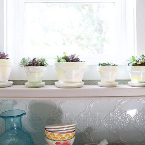marbleized flower pots