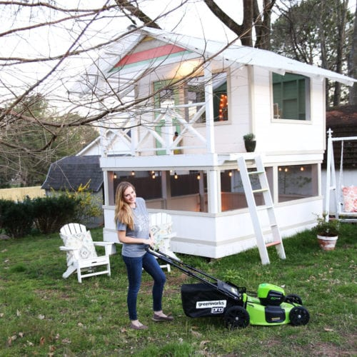 battery powered lawn mower and a greenworks giveaway