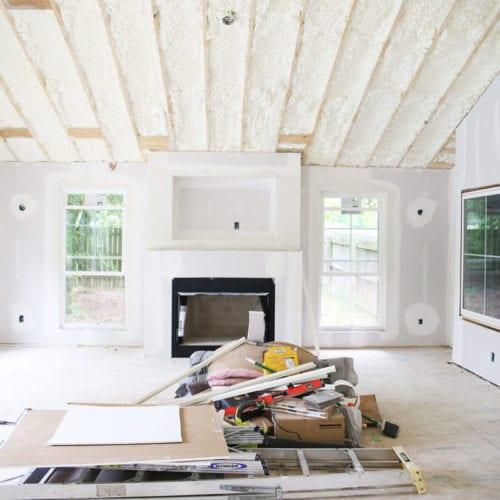 the addition: insulation and drywall!