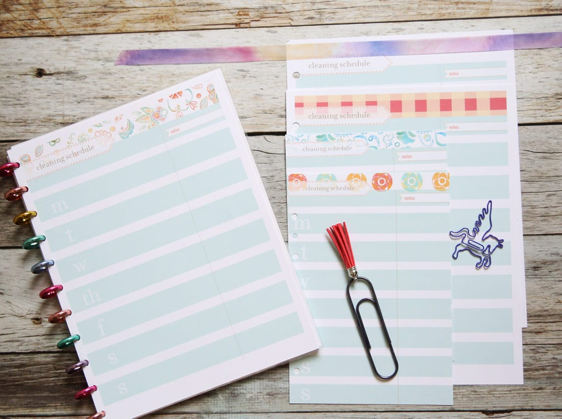 cleaning sheet inserts planner