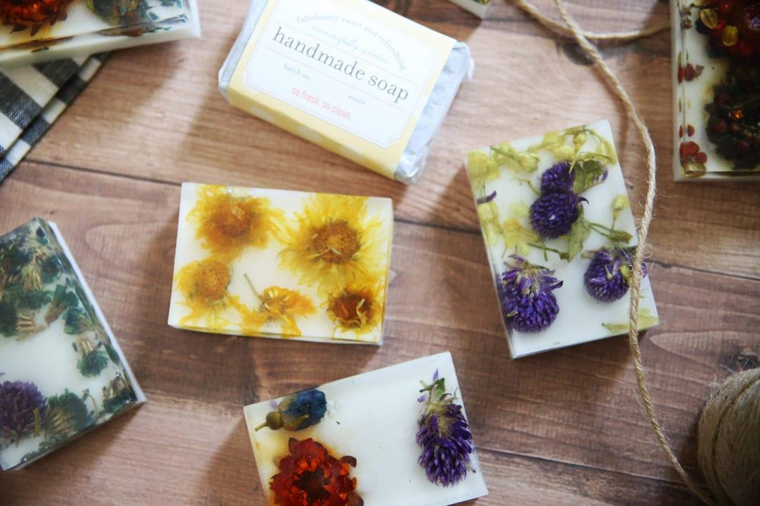easy pressed flower soap