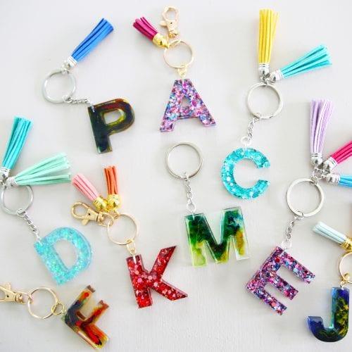 resin monogram keychains