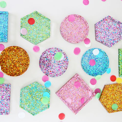 easy diy glitter confetti coasters